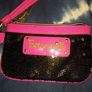 Betseyville pink and black sequenced coin purse